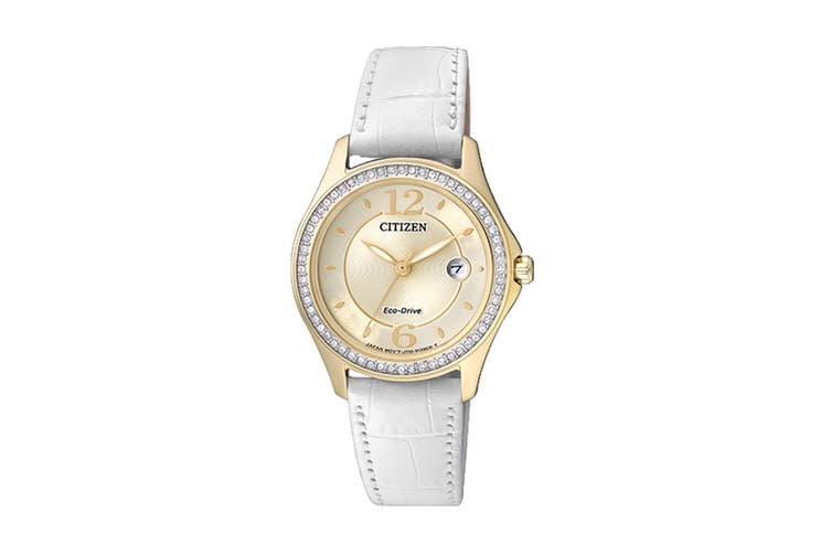 Citizen Ladies' 30mm Analog Dress Eco-Drive Watch with Swarovski Elements, Date, 3 Hands & Leather Strap - White/Gold (FE1142-05P)