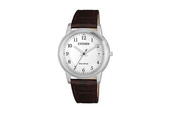 Citizen Ladies' 33.3mm Analog Dress Eco-Drive Watch with Date, 3 Hands & Leather Strap - White/Brown Leather (FE6011-14A)