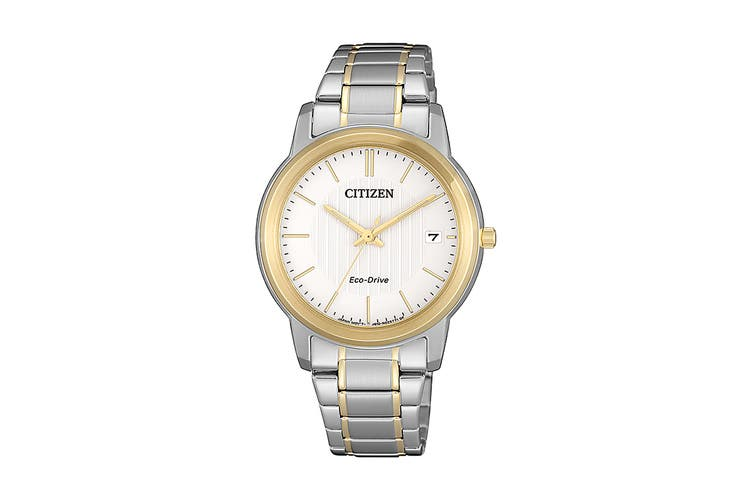Citizen Ladies' 33.3mm Analog Dress Eco-Drive Watch with Date, 3 Hands & Stainless Steel Bracelet & Push Button Buckle - White/Stainless Steel (FE6016-88A)