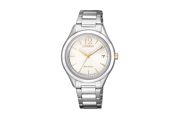 Citizen Ladies' 33.5mm Analog Dress Eco-Drive Watch with Date, 3 Hands & Stainless Steel Bracelet & Push Button Buckle - White/Stainless Steel (FE6124-85A)