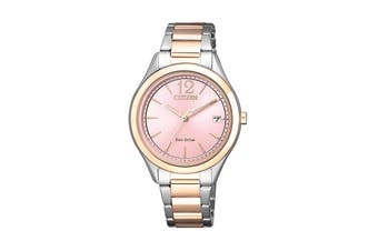 Citizen Ladies' 33.5mm Analog Dress Eco-Drive Watch with Date, 3 Hands & Stainless Steel Bracelet & Push Button Buckle - Pink/Stainless Steel (FE6126-80X)