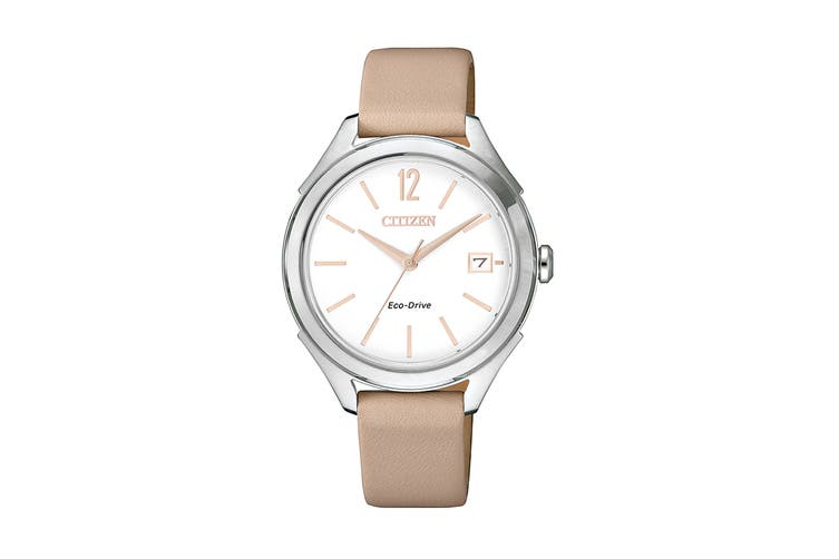 Citizen Ladies' Analog Dress Eco-Drive Watch with Date, 3 Hands & Leather Strap - White/Cream (FE6141-19A)