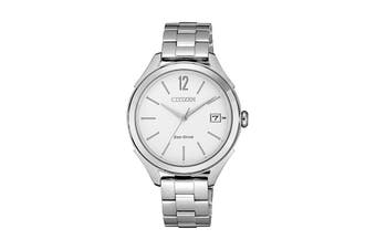 Citizen Ladies' 33.5mm Analog Dress Eco-Drive Watch with Date, 3 Hands, Stainless Steel Bracelet & Push Button Buckle - White/Stainless Steel (FE6141-86A)