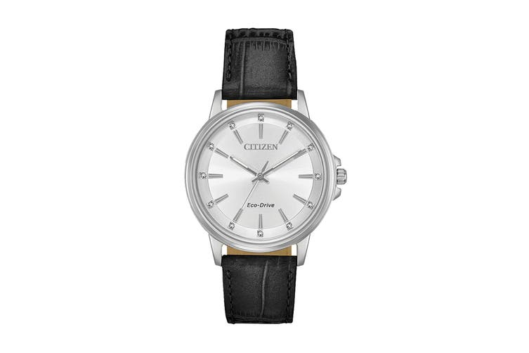 Citizen Ladies' 36.5mm Analog Dress Eco-Drive Watch with Swarovski Elements, 3 Hands & Leather Strap - Silver/Black (FE7030-14A)