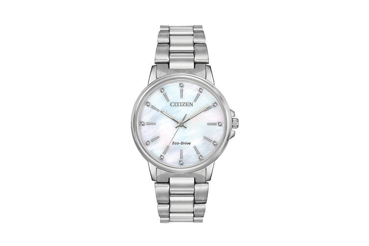 Citizen Ladies' Eco-Drive Watch with Swarovski Crystals - Mother of Pearl/Stainless Steel (FE7030-57D)