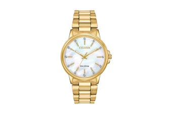 Citizen Ladies' 36.5mm Analog Dress Eco-Drive Watch with 3 Hands Stainless Steel Bracelet & Push Button Buckle - Stainless Steel Gold/Mother of Pearl (FE7032-51D)