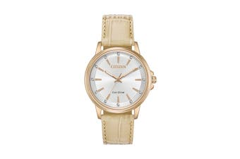 Citizen Ladies' 36.5mm Analog Dress Eco-Drive Watch with Date, 3 Hands & Leather Strap - Taupe Leather/Stainless Steel Gold/White (FE7033-08A)