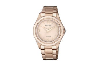 Citizen Ladies' 35.2mm Analog Dress Eco-Drive Watch with 3 Hands, Stainless Steel Bracelet & Push Button Buckle - Rose Gold Stainless Steel (FE7053-51X)