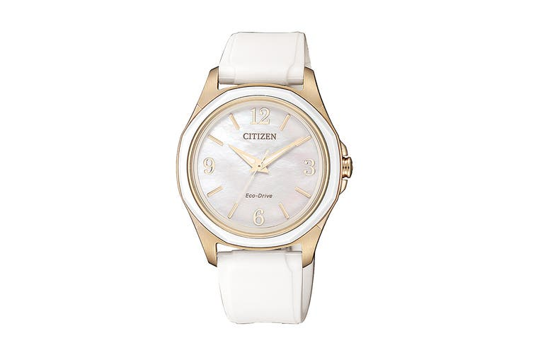 Citizen Ladies' 35.2mm Analog Dress Eco-Drive Watch with 3 Hands & Polyurethane Strap - White/Mother of Pearl (FE7056-02D)