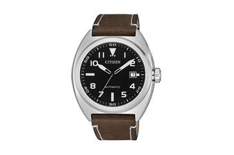 Citizen Men's 42mm Analog Dress Automatic Watch with Date, 3 Hands & Leather Strap - Black/Stainless Steel/Brown (NJ0100-11E)