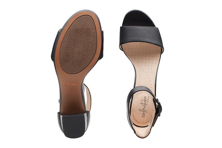 Clarks Women's Deva Mae Shoe (Black Leather D, Size 4.5 UK)