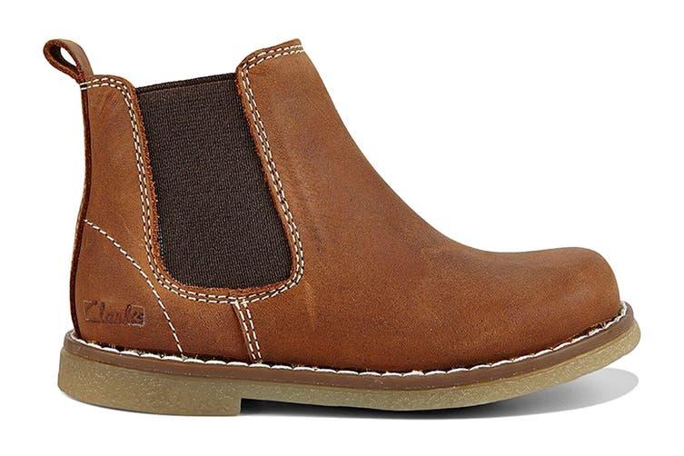 Clarks Girls' Chelsea Inf Shoe (Tan Crazy Horse E, Size 21 EU)