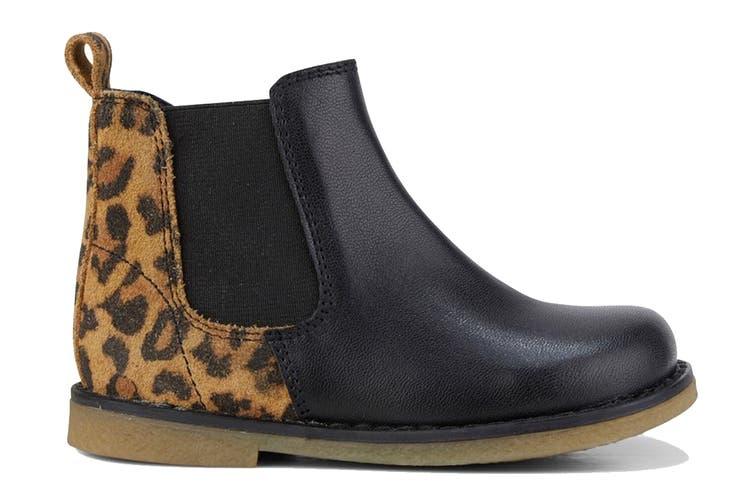 Clarks Girls' Chelsea Inf Shoe (Black Leopard E, Size 23 EU)