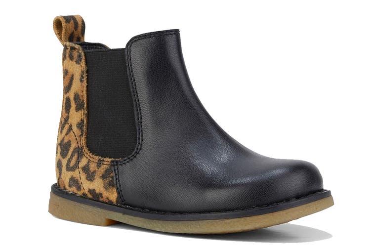 Clarks Girls' Chelsea Inf Shoe (Black Leopard E, Size 24 EU)