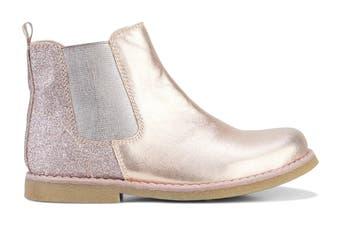 Clarks Girls' Chelsea Shoe (Rose Gold Glitter E)