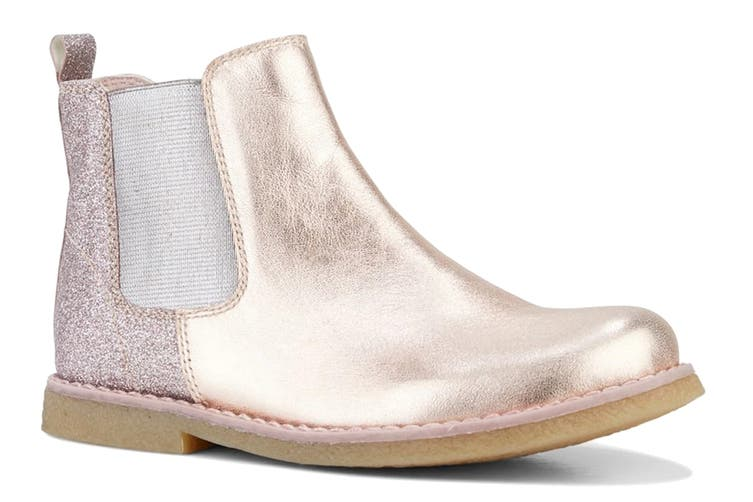 Clarks Girls' Chelsea Shoe (Rose Gold Glitter E, Size 28 EU)