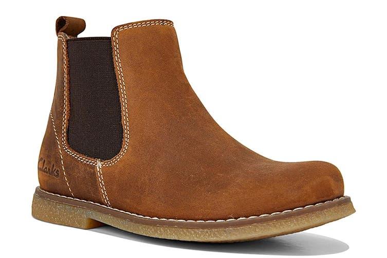 Clarks Girls' Chelsea Shoe (Tan Crazy Horse E, Size 31 EU)