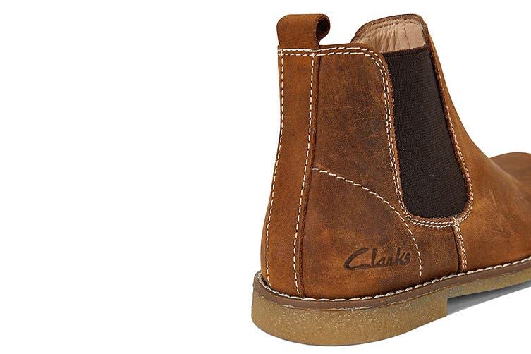 Clarks Girls' Chelsea Shoe (Tan Crazy Horse E, Size 33 EU)