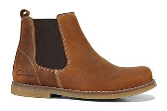 Clarks Girls' Chelsea Shoe (Tan Crazy Horse E, Size 34 EU)