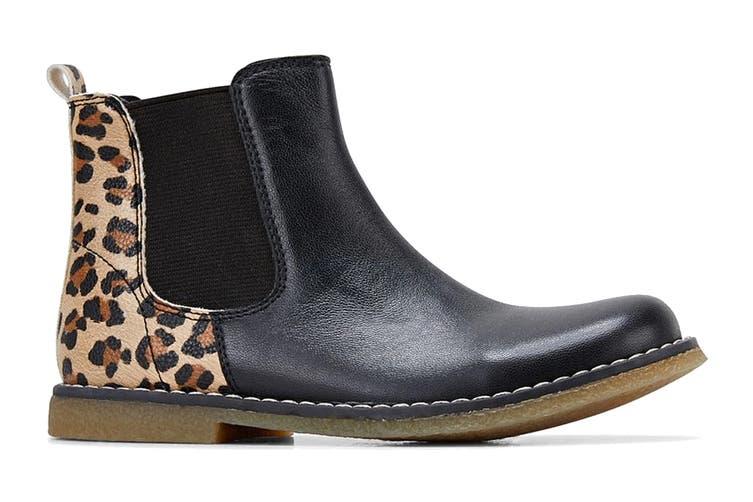 Clarks Girls' Chelsea Shoe (Black Leopard E, Size 27 EU)