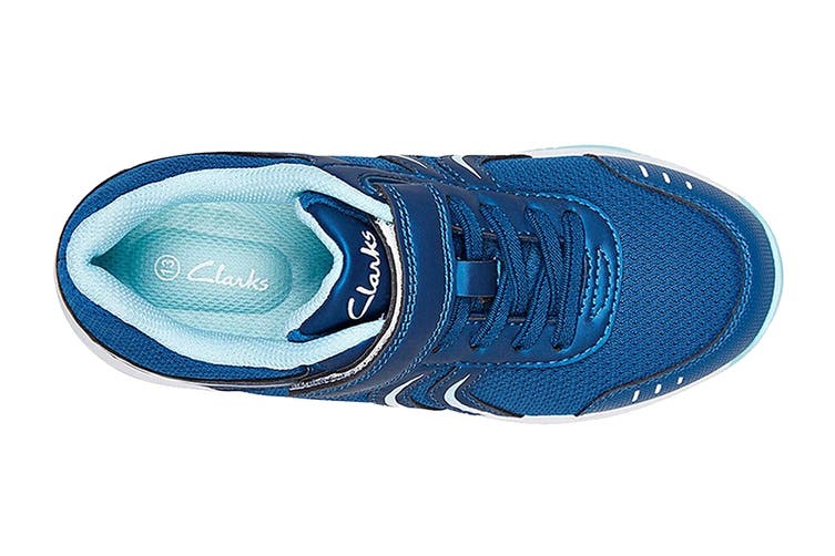 Clarks Kids Arrow Shoe (Blue Metallic E+, Size 2 UK)
