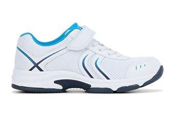 Clarks Kids Arrow Shoe (White/Blue/Navy E+, Size 010 UK)