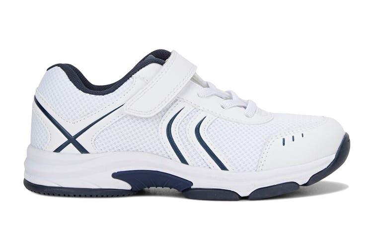 Clarks Kids Arrow Shoe (White/Navy E+, Size 08 UK)