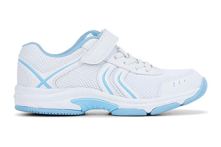 Clarks Kids Arrow Shoe (White/Sky Blue E+, Size 2 UK)