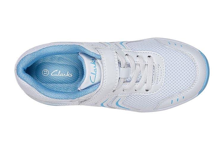 Clarks Kids Arrow Shoe (White/Sky Blue E+, Size 08 UK)