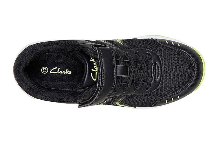 Clarks Kids Arrow Shoe (Black/Lime E+, Size 011 UK)