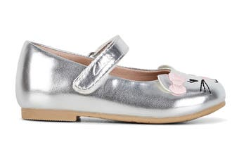 Clarks Girls' Alice Shoe (Silver/Pink Bow E)