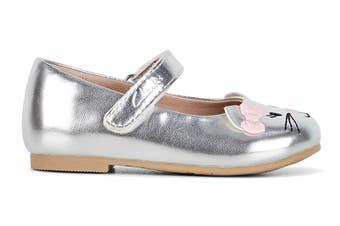 Clarks Girls' Alice Shoe (Silver/Pink Bow E, Size 24 EU)