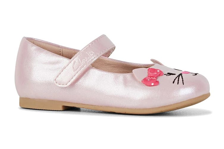 Clarks Girls' Alice Shoe (Pale Pink Pearl/Pink Bow E, Size 22 EU)