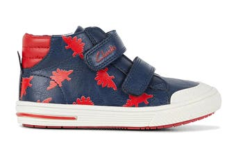 Clarks Boys' Barney Shoe (Navy/Red E, Size 22 EU)