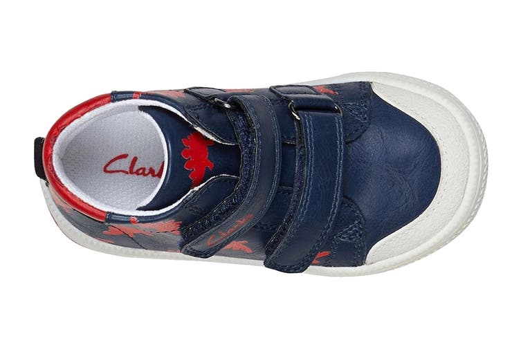 Clarks Boys' Barney Shoe (Navy/Red E, Size 24 EU)