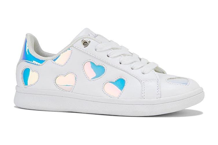 Clarks Girls' Dixie Shoe (White/Hologram E+, Size 37 EU)