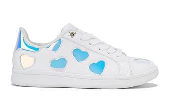 Clarks Girls' Dixie Shoe (White/Hologram E+, Size 39 EU)