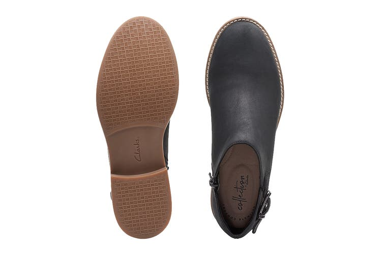 Clarks Women's Camzin Pull Shoe (Black Leather D, Size 3.5 UK)