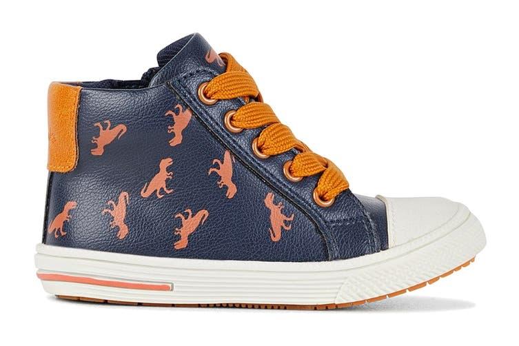 Clarks Boys' Bertie Shoe (Navy/Orange E, Size 23 EU)