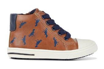 Clarks Boys' Bertie Shoe (Tan/Navy E, Size 22 EU)
