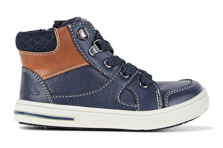 Clarks Boys' Brannon Shoe (Navy E, Size 33 EU)