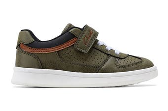 Clarks Boys' Damon Jnr Shoe (Khaki E+, Size 25 EU)