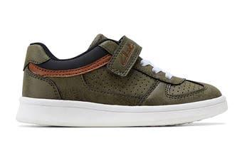 Clarks Boys' Damon Jnr Shoe (Khaki E+, Size 28 EU)