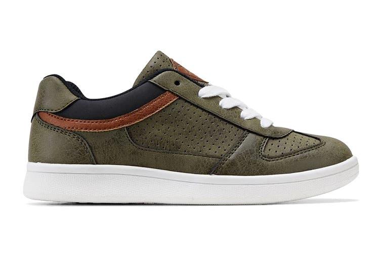 Clarks Boys' Damon Shoe (Khaki E+, Size 33 EU)