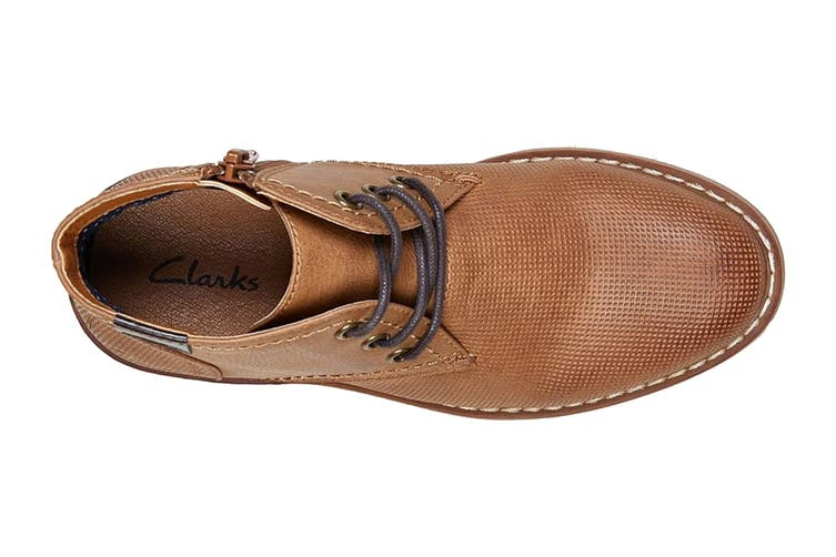 Clarks Boys' Landon Shoe (Tan E, Size 1 UK)