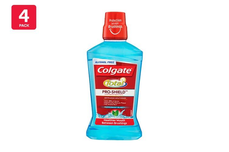 Colgate 500ml Total Pro-Shield Anti Plaque Mouthwash Peppermint Blast (4 Pack)