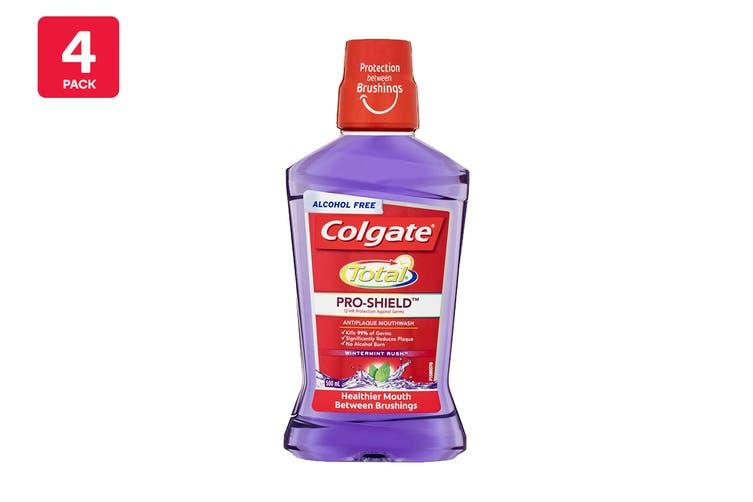 Colgate 500ml Total Pro-Shield Anti Plaque Mouthwash Wintermint Rush (4 Pack)