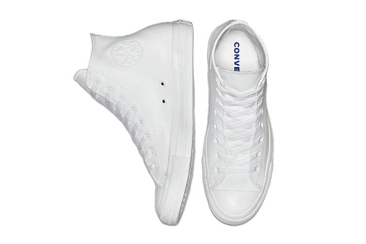 Converse Unisex Chuck Taylor All Star Leather Hi (White Monochrome, Size 5.5)
