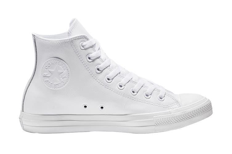 Converse Unisex Chuck Taylor All Star Leather Hi (White Monochrome, Size 7)