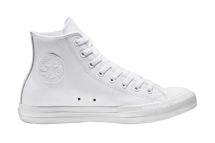 Converse Unisex Chuck Taylor All Star Leather Hi (White Monochrome, Size 8)